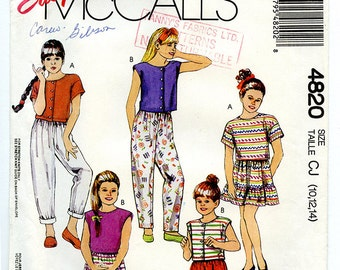 Vintage 90s McCalls 4820 Sewing Pattern UNCUT for Girls Top, Skirt, Pants, Shorts for Stretch Knits for Overlock Serger Size CJ