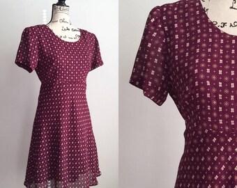 Vintage 90s Dress, Vintage Plum Purple Dress, 90s Dress, Modest Dress, Spring Dress, Summer Dress