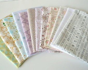 Low Volume designer cotton quilt fabric12 fat quarter bundle Stash Remix
