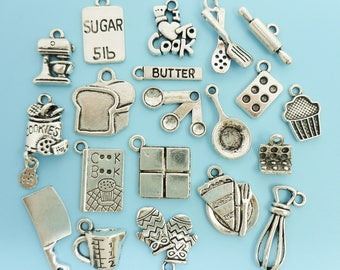 Cooking / Baking Charm Set / Collection Antique Silver 20 Cook Baker Chef Charms Pendants