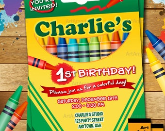 Crayon Birthday Invitation, Crayon Party Invitation, Crayola Crayon, Art Party Invitation R-146