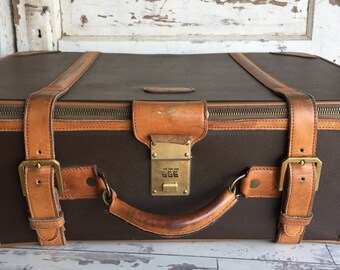 Vintage Suitcase Hartmann Wings Leather - Gorgeous Soft Side Brass Buckle Monogram Luggage