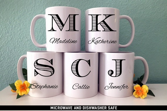 Coffee Mug Bridesmaid Gift Initial Coffee Mug Set - Perfect Gift for Bridal Party - Monogram Coffee Mug
