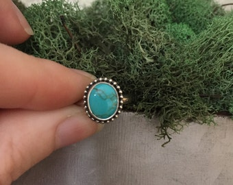 Sterling Silver Number 8 Turquoise Stacking Ring, Number 8 Turquoise, Turquoise Ring, Sterling Silver Ring, Stacking Ring, Stackable Ring