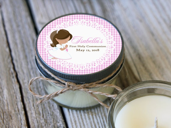Set of 12 Candles//Little Girl Communion Favor//Soy Candle Favor//Personalized Communion Favor//Shower Favor//Primera Comunion