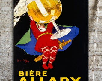 BIERE Allary Giant Canvas Print, Old French Poster, Vintage Beer Poster, Art Deco Print, Oversized Canvas Art, Dining Room Wall Art, Paris.