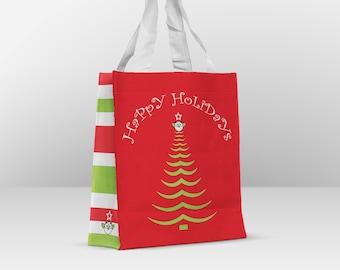 Happy Holidays Christmas Tree Reusable Gift Bags