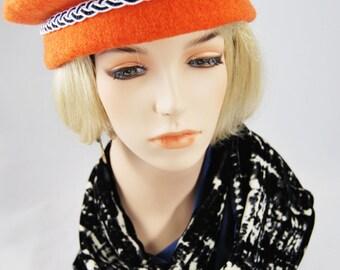 Orange Beret with Black & White Braid