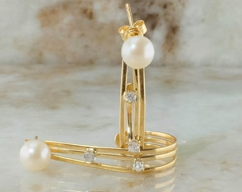 14K Yellow Gold Pearl Studs With Diamond Accent Jackets