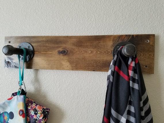Industrial Pipe and Wood Coat Rack