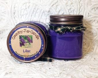 Jar Candle, Lilac, Mason Jar Candle, 1/2 pint, container candle, lilac scented candle, lilac jar candle, floral, Moeggenborg Sugar Bush