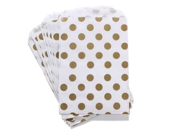 Party Favor Bag, Paper Favor Bags, Gold Polka Dot Paper Favor Bags, Gold Wedding Party Favor, Glam 1st Birthday, Graduation Party Favor Bags