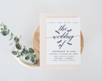 Navy The wedding of  Save the Date Template DIY Shower Template PDF Save the Date Template wedding printable save our date template