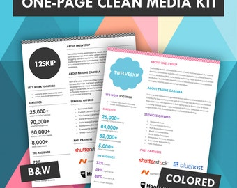 cute one page media kit template press kit pastel black. Black Bedroom Furniture Sets. Home Design Ideas