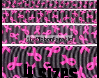"5 yds 3/8""  5/8""  7/8""  or 1.5""  Breast Cancer Awareness Pink Ribbon on Black  Grosgrain Ribbon"