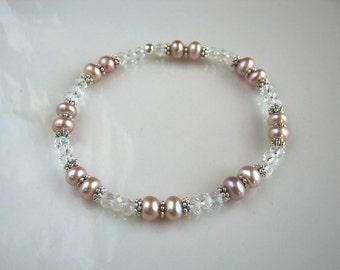 Mauve Pink Freshwater Pearl Stretch Bracelet Mauve Pink Pearl Wedding Bracelet Pearl Bridal Bracelet