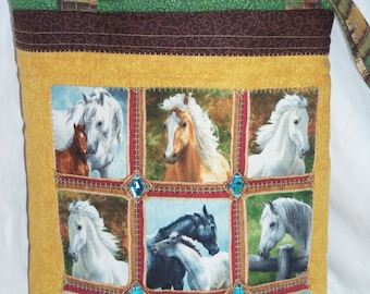 Tote Bag , HORSE PORTRAITS Quilted Carry-All , Bag , Purse , Large , Knitting Bag , Woman , Brown