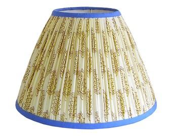 Gathered Lamp Shade - Cream Lamp Shade  - Patterned Lamp Shade Blue - Fabric Lampshades - Bohemian Lamp Shade Boho - Pleated Lampshades