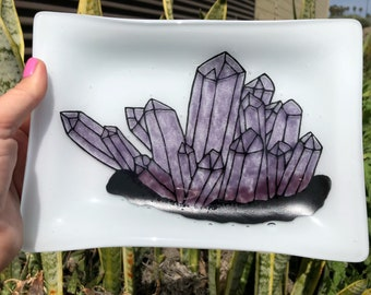 Fused Glass Serving Tray With Handpainted Amethyst