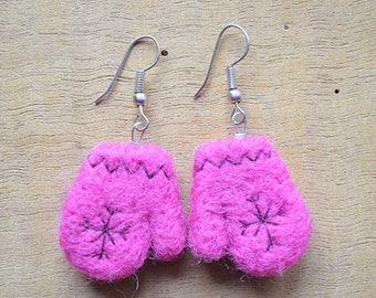 """Earrings woolen """"mini pink mittens"""""""
