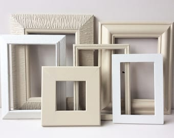 Gallery Wall Frames - Annie Sloan, Old Ochre, Old White, Gallery Wall Frame Set, Old Frames, Gallery Wall, Recycled Frames.