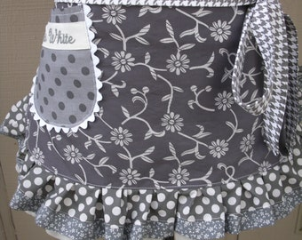 Womens Aprons - Fifty Shades of Grey Aprons - Christian Gray Aprons - Grey Aprons - Monogrammed Aprons - Annies Attic Aprons - Grey Aprons