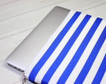 11 inch laptop case, Macbook Air sleeve, Macbook sleeve 12, nautical laptop case, blue stripe laptop case, zippered Macbook case