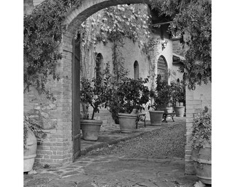 Fine Art Black & White Photography of a Winery Entrance in Montalcino Tuscany