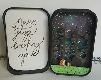 Stargazing Hedgehogs - a paper art diorama.