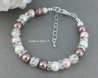 Brown Bracelet Pink and Taupe Bracelet Bridesmaids Gift Nude Shades Bracelet Vintage Style Bracelet  Gift for Her Wedding Pearl Bracelet