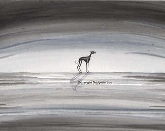 A  ORIGINAL PAINTING of a Whippet greyhound ... a Watercolor  Painting