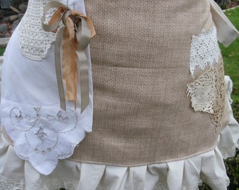 Womens Aprons - Rustic Lace Aprons - Shabby Chic Aprons - Cottage Chic Aprons - BoHo Aprons - Annies Attic Aprons - Steampunk Aprons