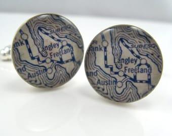Vintage map cufflinks - Langley Whidbey Island Washington 1925  - silver-plated round cuff links