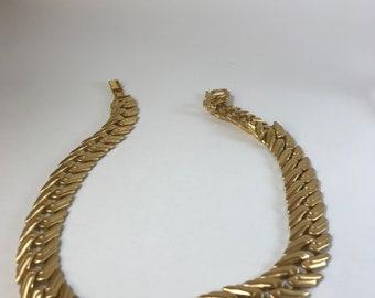 Monet Gold Tone Satin Matte Heavy Necklace