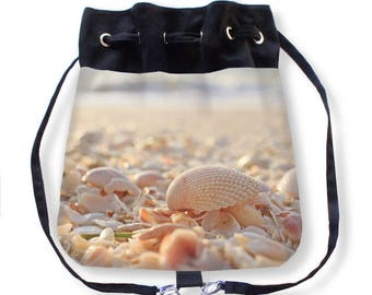 Shell Cinch Sack-Sea Shell Purse-Shell Backpack-Seashell Cinch Sack-Drawstring Cinch Sack-Cinch Bag-Drawstring Backpack-Beach Purse
