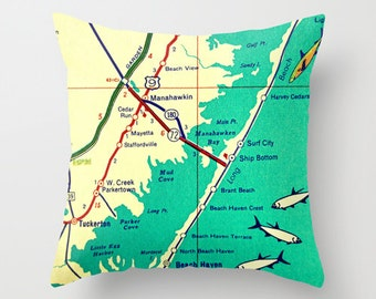 Custom New Jersey Map Pillow Cover, New Jersey Gifts, Long Beach Island, Jersey Girl Gift, Cape May, Newark NJ Strong, New Jersey Shore Aqua