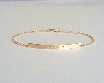 Dainty Skinny Gold Bar Nameplate Bracelet, Gold Bar Bracelet, Gold Custom Name Plate Bracelet, Mothers Bracelet, Daughters Bracelet