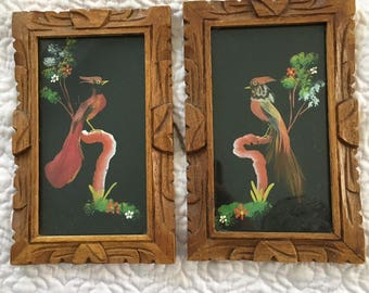 Mexican Feather Art Framed Birds Set of 2