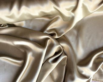 High quality silky sateen, very close to genuine silk sateen. Soft Kaki No38