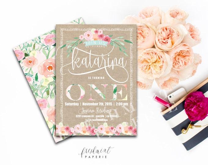 Vintage Burlap Floral Invitation - First Birthday Invitation - Birthday invitation - ONE invitation - Floral invitation - Vintage invitation