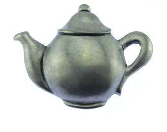 Silver Teapot Brooch, Silver Teapot Pin, Pewter Tea Brooch, Pewter Tea Pin