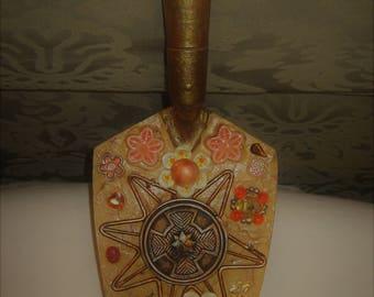 Trowel ART, Vintage Trowel, with Jewelry Pieces, Hanging Trowel Picture, Orange, Yellow, Bronze