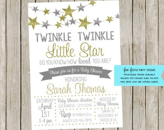 Twinkle Twinkle Little Star baby shower invitation set
