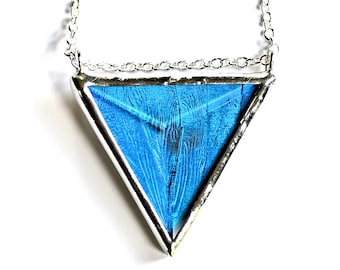 Real Butterfly Wing  Faceted Triangle Necklace. Blue Morpho Geometric Jewel Pendant. Gift for her. Mother's Day Jewelry.
