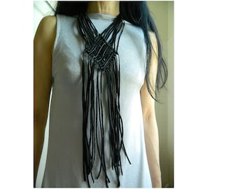 Long Leather Necklace for Women Fringe Necklace Boho Jewelry Statement Necklace Bib Necklace Extra Long Big Necklace Macrame Necklace