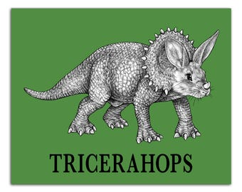 "Tricerahops 8x10"" High Quality Color Print, Triceratops + Bunny Rabbit Hybrid Animal, Wall Art, Office Décor, Whatif Creations, Portland, OR"