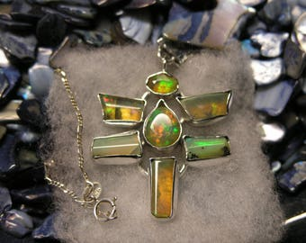 1000-43 Sterling Necklace Dragonfly with Ethiopian Opal
