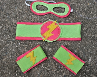 Girl Superhero Mask/Cuffs/BeltBoys-Perfect Christmas Gift- Superhero Accessory-Customize- Superhero Accessory-Superhero Dress Up Party