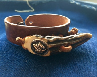 handmade leather bracelet with horn