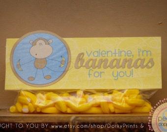 Valentine Printable PDF - Printable Party Supplies - Bananas for You Printable Valentines